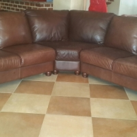Leather semi circle couch