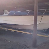 21ft V cabin cruiser on trailer with 2 x 90 Chrysler motors (incomplete project)