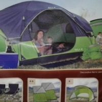 Out and about 6man tent with 2 x camping chairs 2 x sleeping bags 1 x queen size blow up matres...