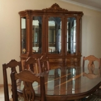 Solid Kiaat Dining Room Table with Matching Display Unit