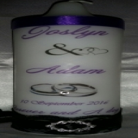 Wedding Unity Candles.Printed, Personalized Candles:Baptisms,Christenings, Memorial Services