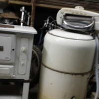 Vintage washing machine and stove