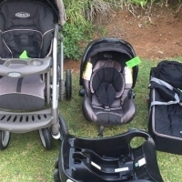 Graco Travel System (Pram, Car Seat, Car Base, Carry Cot)