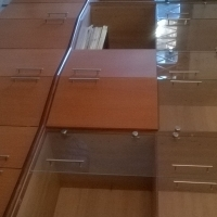 cherry wall unit with glass doors!!