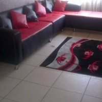 Red and Black L SHAPE Leather Couches