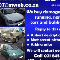 We buy, your damaged, running, non running or unwanted vehicles for cash