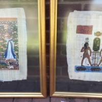 Skilderye op Papirus in glasrame x 2