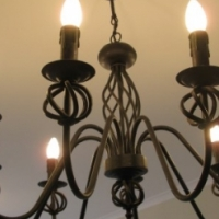 Black Wrought Iron Chandelier. 8 Light Holder. No Globes included in the Price.