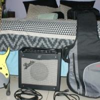 Gio Ibanez guitar, fender mustang I 70watt amp