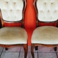 2 x Victorian Walnut Chairs for R1800