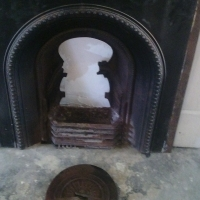 Old Victorian Oak and cast iron fire place