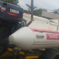 5.6 m Gladiator Dive duck on galv b/n trailer with two Yamaha 50 hp 3 cyl autolubes, used for sale  Durban South