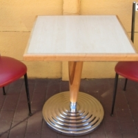 Retro look tables and chairs for sale.