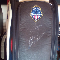 Unique golf bag US Open signed by Goosen and Garcia