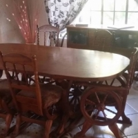 Antique Wagon wheel decal dinning room table + server.