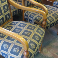 Solid Wood Cloth Covered Chairs