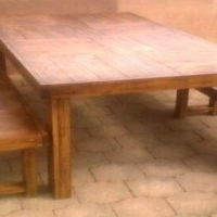 Patio table Farmhouse series 1915 Eight seater Combo 2 Stained