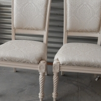 2 Antique Chairs, lovingly restored with most expensive fabric and Chalk painted. R1,200 ea.