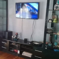 Plasma tv stand with 2 display cabinets