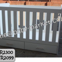 New Large Cot With Drawers - White