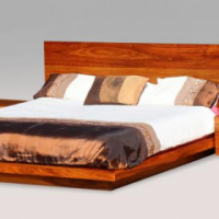 Solid Kiaat Floating Bed and Pedestals