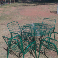 Steal table chairs garden or patio
