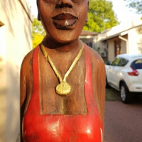 1.8m wooden carved African woman.