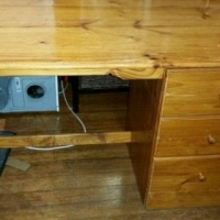 Solid pine 3 drawer desk