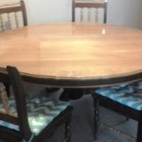 Yellowood and Imbuia Dining Room Set + 6 Rattan Chairs + 3 dressers