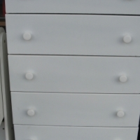 Chest of 5 Drawers NEW White, Black and Grey