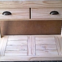 Kitchen Island Farmhouse series 1170 with 2 drawers mobile Stained