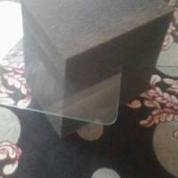 Glas blad koffie tafel en mat