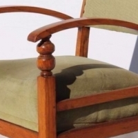 Vintage Oak Lounge Chair with Bow Armrests