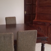 Solid teak wood dining room suite with buffet cabinet, single bed,