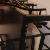 hout eetkamerstel met 6 stoele