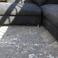 new black suede corner lounge suite L shape