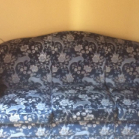 Blue Sofa with Floral design