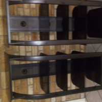 3 Piece Black Glass & Steel TV stand and wall units
