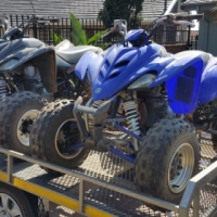 2 x Yamaha 350 Raptors and Trialer
