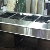 Curved Glass Bain Marie with Stainless Steel Base