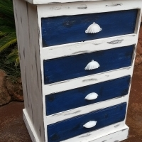 White and Blue Chest of 4 Drawers (640x520x1000)