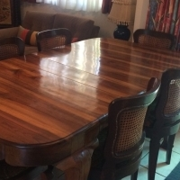 Stinkwood six seater table and six stinkwood chairs