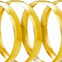 "9CT SOLID GOLD 6MM ""C"" SHAPED BANGLES"