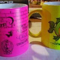 Neon/ Silver/gold and lovers mugs for sale