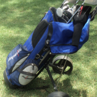 Full set golf clubs, bag and cart