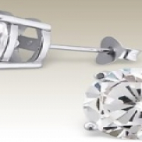 .925 STERLING SILVER 6MM STUDS WITH CUBIC ZIRCONIA
