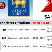 Box Tickets for SA vs Sri Lanka at Wanderers, Test Match, T20 & ODI