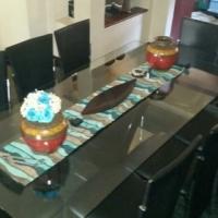 8 Seater Black Leather Chrome & Glass Dinning Room Set