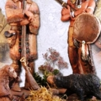 "Vintage ""Native American Diorama"" sculpture by Michael Garman."
