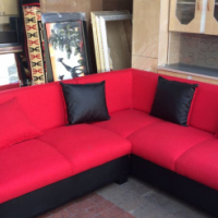 new red corner lounge suite